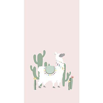 fotobehang alpaca zacht roze en groen