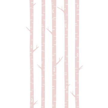 fotobehang berken boomstammen zacht roze