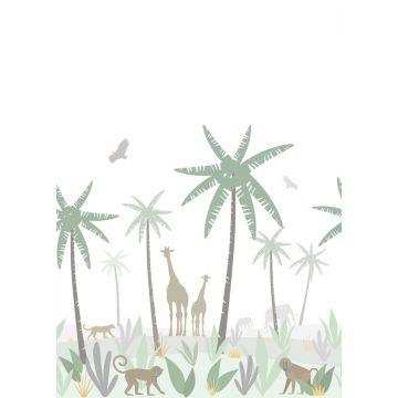fotobehang jungle dieren groen, grijs en bruin