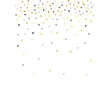fotobehang confetti dots geel en grijs