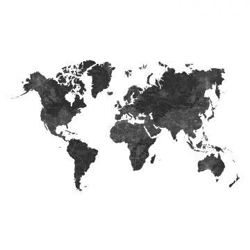 fotobehang wereldkaart antraciet grijs