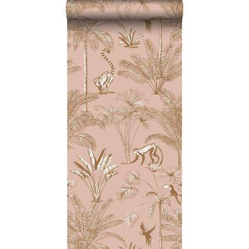 vlies wallpaper XXL jungle-motief perzik roze