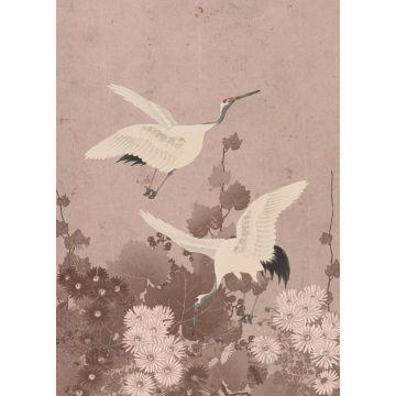 fotobehang kraanvogels grijs roze