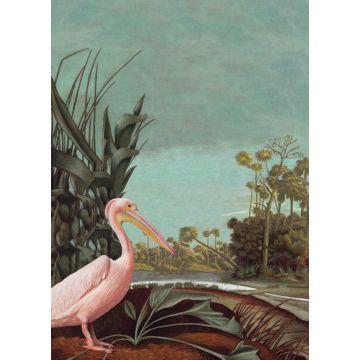 fotobehang tropisch landschap vergrijsd turquoise, bruin, donkergroen en licht roze