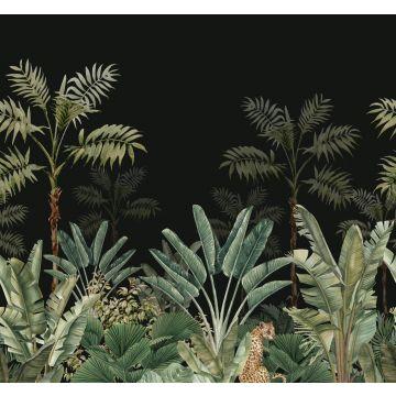 fotobehang jungle-motief zwart en vergrijsd groen