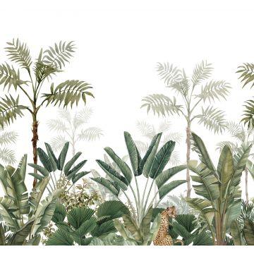 fotobehang jungle-motief wit en vergrijsd olijfgroen