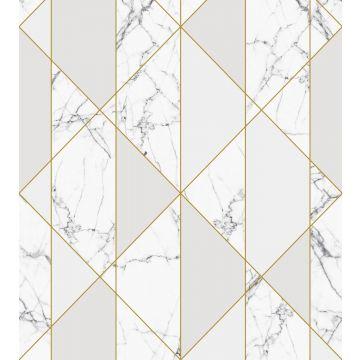 fotobehang marmer zwart wit, grijs en goud