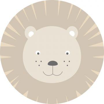 zelfklevende behangcirkel dierenkoppen beige
