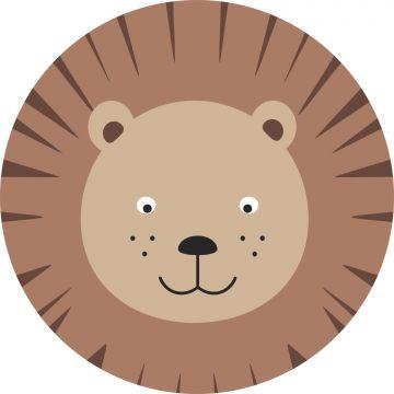 zelfklevende behangcirkel dierenkoppen bruin en beige