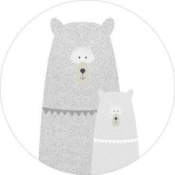 zelfklevende behangcirkel beren moeder en kind lichtgrijs