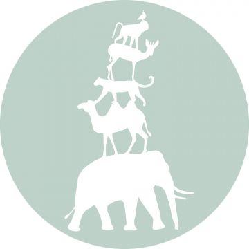 zelfklevende behangcirkel gestapelde dieren mintgroen en wit