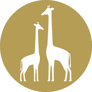 zelfklevende behangcirkel giraffen okergeel en wit