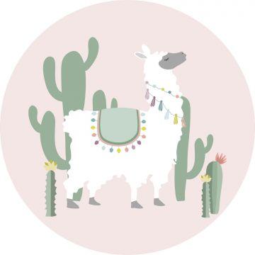 zelfklevende behangcirkel alpaca roze en groen