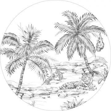 zelfklevende behangcirkel safari pentekening zwart wit