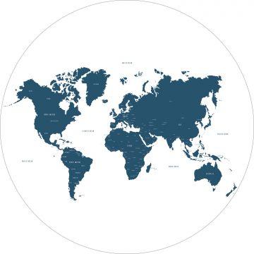zelfklevende behangcirkel wereldkaart blauw
