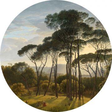 zelfklevende behangcirkel Italiaans landschap donkergroen