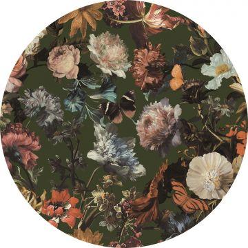 zelfklevende behangcirkel bloemen vergrijsd olijfgroen