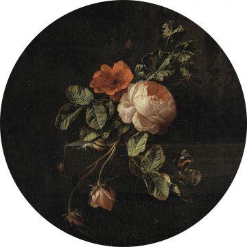 zelfklevende behangcirkel bloemstilleven donker rood en zwart