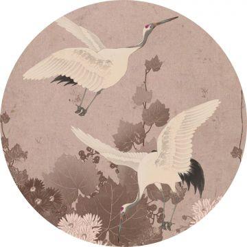 zelfklevende behangcirkel kraanvogels grijs roze