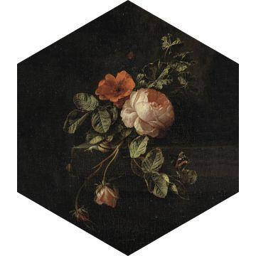 muursticker bloemstilleven zwart, groen en roze