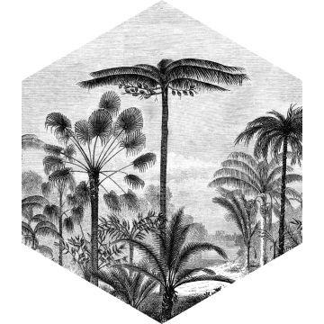 muursticker tropisch landschap met palmbomen zwart wit