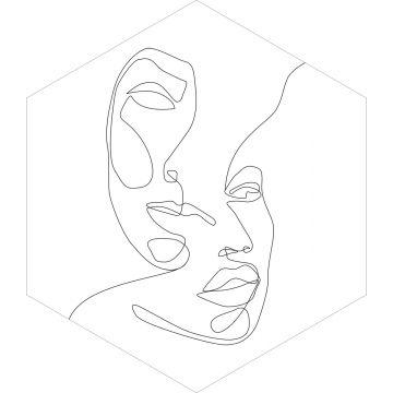 muursticker gezichten zwart wit