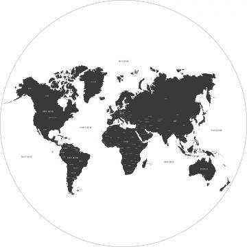 zelfklevende behangcirkel wereldkaart zwart wit