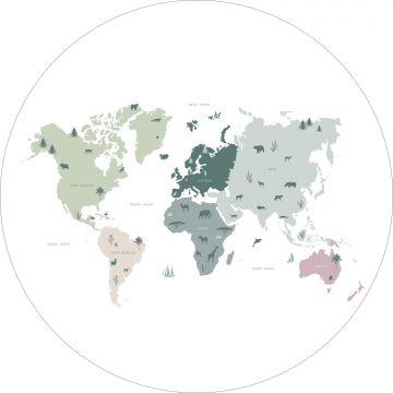 zelfklevende behangcirkel wereldkaart voor kinderen mintgroen, grijs en roze