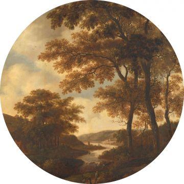 zelfklevende behangcirkel bosrijk landschap oranje