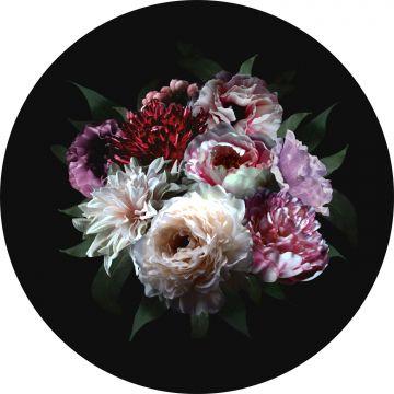 zelfklevende behangcirkel bloemstilleven multicolor op zwart