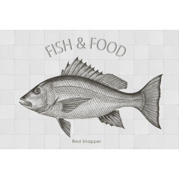 muursticker vis zwart