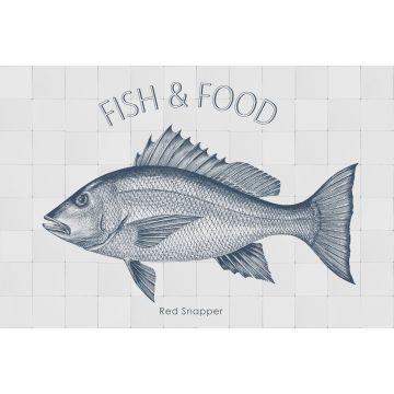 muursticker vis blauw
