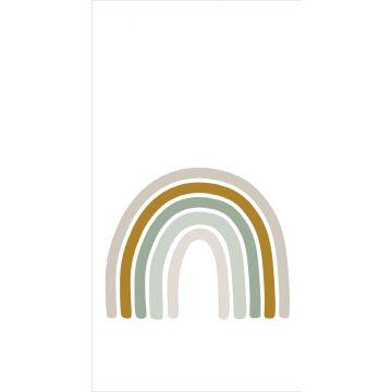fotobehang regenboog vergrijsd groen, okergeel en beige