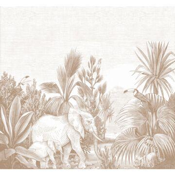 fotobehang jungle-motief terracotta
