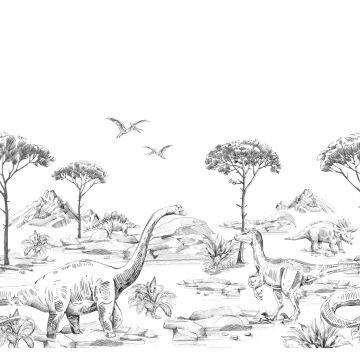 fotobehang dinosaurussen zwart wit