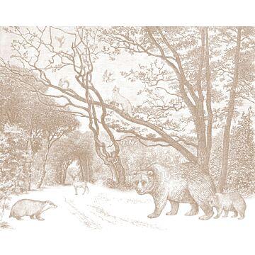 fotobehang bos met bosdieren terracotta