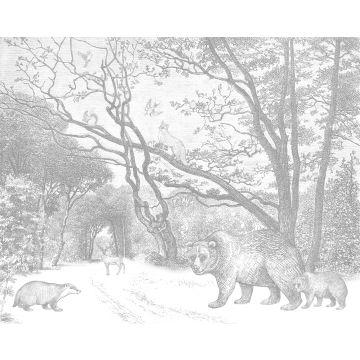 fotobehang bos met bosdieren grijs
