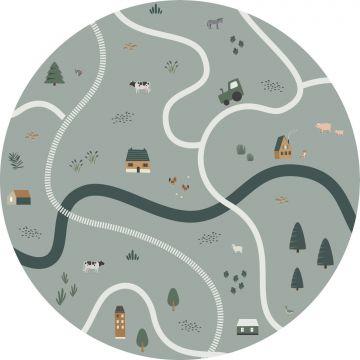 zelfklevende behangcirkel tractoren en boerderijdieren vergrijsd groen