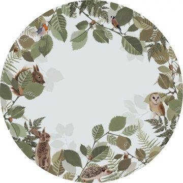 zelfklevende behangcirkel bosdieren groen en bruin