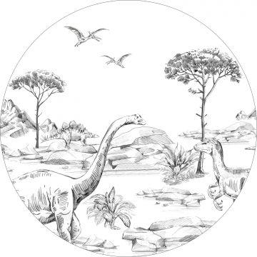 zelfklevende behangcirkel dinosaurussen zwart wit