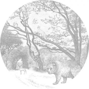 zelfklevende behangcirkel bos met bosdieren grijs