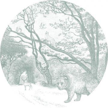 zelfklevende behangcirkel bos met bosdieren groen