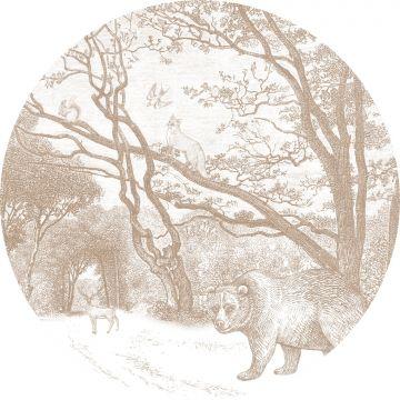 zelfklevende behangcirkel bos met bosdieren donker beige