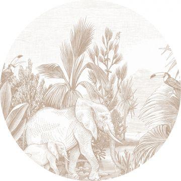 zelfklevende behangcirkel jungle-motief donker beige