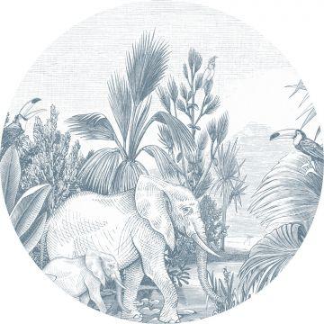 zelfklevende behangcirkel jungle-motief blauw