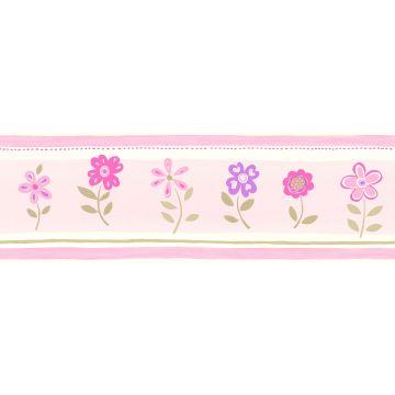 zelfklevende behangrand bloemen licht roze