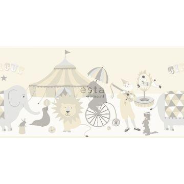 zelfklevende behangrand circus figuren lichtgrijs, beige en glanzend wit
