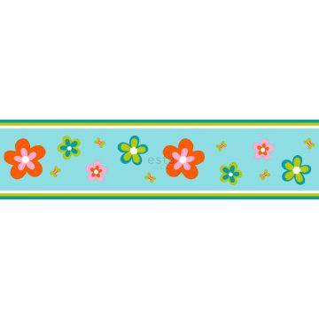 behang rand bloemen turquoise en oranje