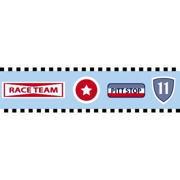 behang rand raceteam emblemen hemelsblauw