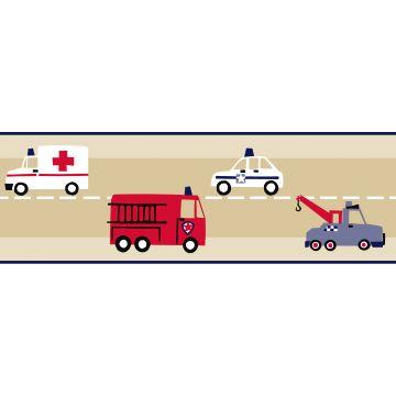 behang rand brandweerauto en politieauto beige, rood en blauw
